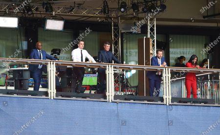 Stock Photo of The ITV sport team of Ian Wright, Gary Neville, Roy Keane, Mark Pougatch and Reshmin Chowdhury