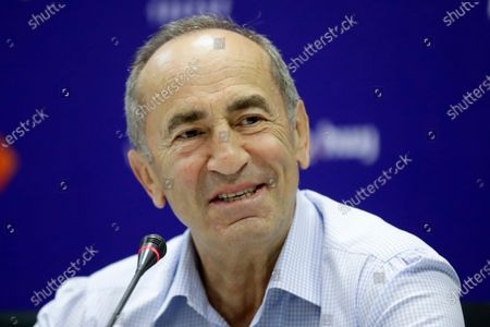 Former President Robert Kocharyan speaks during a news conference in Yerevan, Armenia, . The Armenia Alliance led by Kocharyan finished a distant second after Acting Prime Minister Nikol Pashinyan's party in Sunday's snap election