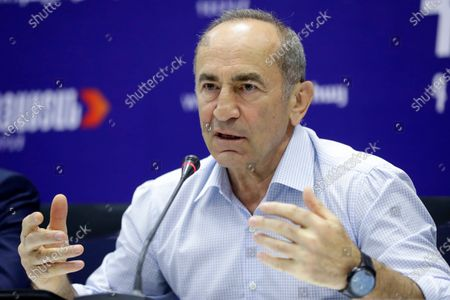 Former President Robert Kocharyan gestures while speaking during a news conference in Yerevan, Armenia, . The Armenia Alliance led by Kocharyan finished a distant second after Acting Prime Minister Nikol Pashinyan's party in Sunday's snap election