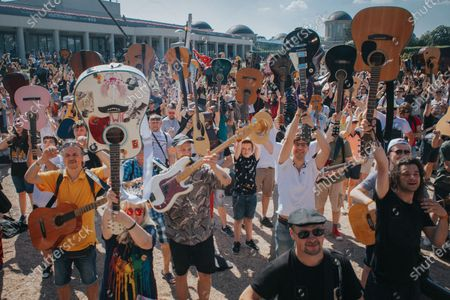 A mass gathering of guitarists in Wroclaw, Poland, on June 19, 2021. Thousands of guitarists played together. This time, the 18th edition of the Guitar World Record was held at the Pergola in Wroclaw.