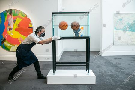 Stock Photo of JEFF KOONS, Two Ball 50,50 Tank , (Estimate: £2.2-2.8 million. Sotheby's Modern & Contemporary Art Sale preview as part of the major summer auctions.The sale takes place on 29 June