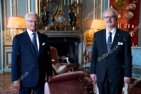 King Carl Gustaf of Sweden receives Latvian President Egils Levits, Stockholm