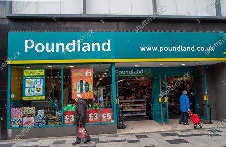 Shoopers outside Poundland in Slough High Street. Due to the spread of the Covid-19 Indian Variant surge testing is taking place across Slough
