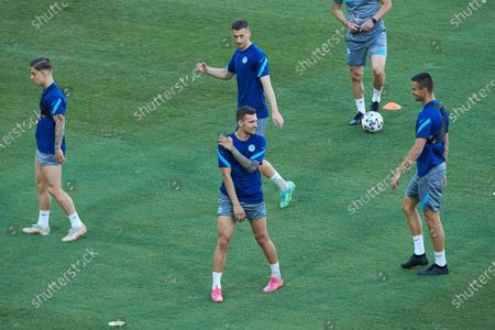 Milan Skriniar of Slovakia in action during the official training of Slovakia at the La Cartuja stadium on June 22, 2021 in Sevilla, Spain.