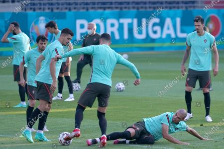 (L-R) - Portugal´s national soccer team players Bernardo Silva, Andre Silva, Cristiano Ronaldo, Pepe and Jose Fonte and Raphael Guerreiro during a training session at the Illovszky Rudolf Stadium, Budapest, Hungary, 22 June 2021. Portugal will face France in their UEFA EURO 2020 group F round soccer match on 23 June 2021.