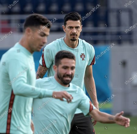 Stock Image of Jose Fonte (rear) of Portugal participates in a training session for the Euro 2020 soccer tournament in Illovszky Rudolf Stadium in Budapest, Hungary, 22 June 2021. Portugal will play against France in the third round of Group F in Budapest on 23 June.