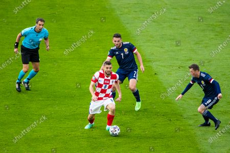Mateo Kovacic on the ball during the UEFA Euro 2020 Championship Group D match between Croatia and Scotland at Hampden Park, Glasgow.