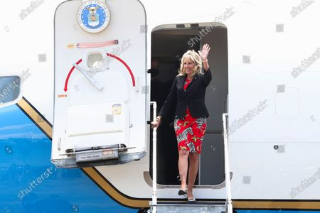 First lady Jill Biden arrives at Jackson-Medgar Wiley Evers International Airport in Pearl, Miss