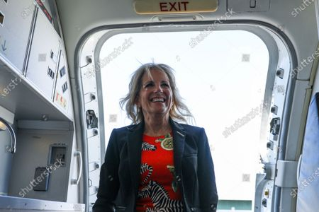 Stock Image of First lady Jill Biden boards an aircraft at Jackson-Medgar Wiley Evers International Airport, in Pearl, Miss