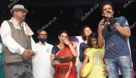 Bollywood actor Manoj Bajpayee addressing theatre artists during a visit to Kalidas Rangalya, on June 22, 2021 in Patna, India.