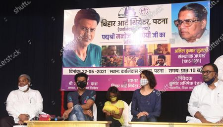 Stock Photo of Bollywood actor Manoj Bajpayee addressing theatre artists during a visit to Kalidas Rangalya, on June 22, 2021 in Patna, India.