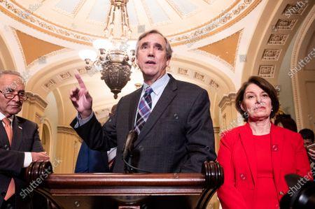 U.S. Senator, Jeff Merkley (D-OR) speaking at a Senate Democratic Caucus press conference at the U.S. Capitol.