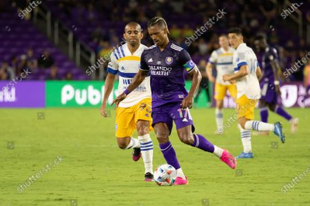 Nani (17 Orlando City) passes the ball during the Major League Soccer game between Orlando City and San Jose Earthquakes at Exploria Stadium in Orlando, Florida.
