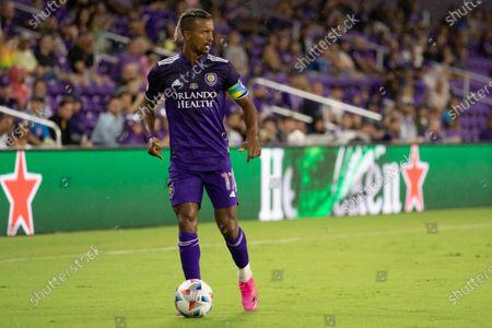 Nani (17 Orlando City) looks to pass the ball during the Major League Soccer game between Orlando City and San Jose Earthquakes at Exploria Stadium in Orlando, Florida.