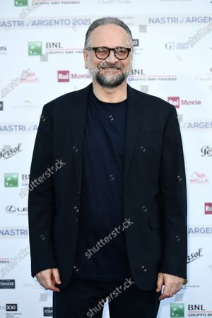 Massimo Popolizio on Blue carpet for the 'Nastri d'Argento' Award (Silver Ribbon) 2021 ceremony at the MAXXI - National Museum of 21st Century Art in Rome