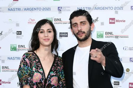 Director and actor Pietro Castellitto with sister Anna Castellitto on Blue carpet for the 'Nastri d'Argento' Award (Silver Ribbon) 2021 ceremony at the MAXXI - National Museum of 21st Century Art in Rome