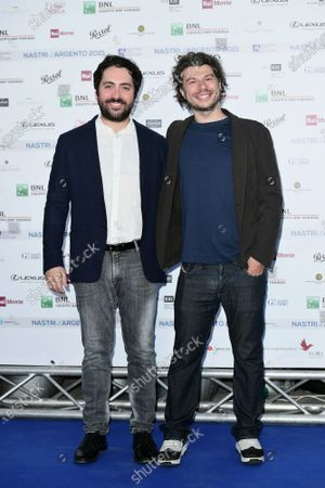 Directors Matteo Rovere and Sydney Sibilia on Blue carpet for the 'Nastri d'Argento' Award (Silver Ribbon) 2021 ceremony at the MAXXI - National Museum of 21st Century Art in Rome