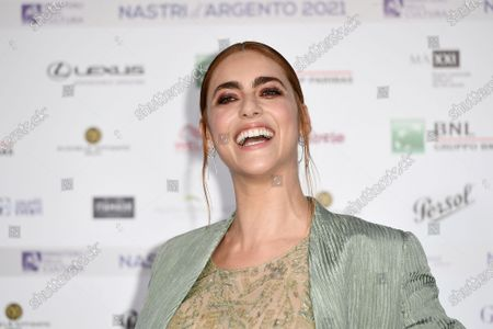 Miriam Leone on Blue carpet for the 'Nastri d'Argento' Award (Silver Ribbon) 2021 ceremony at the MAXXI - National Museum of 21st Century Art in Rome
