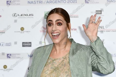 Stock Image of Miriam Leone on Blue carpet for the 'Nastri d'Argento' Award (Silver Ribbon) 2021 ceremony at the MAXXI - National Museum of 21st Century Art in Rome