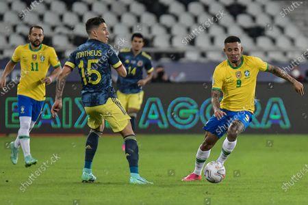 Gabriel Jesus of Brazil takes on Mateus Uribe of Colombia; Nilton Santos Stadium, Rio de Janeiro, Brazil; Copa America, Brazil versus Colombia.