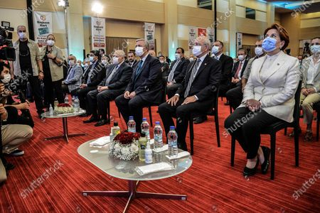 Kemal Kilicdaroglu (R2), the leader of the main opposition Republican People's Party (CHP), Meral Aksener (R), the leader of the opposition IYI (Good) Party, and Ankara's Mayor Mansur Yavas (R3) attend the presentation of Baskent Kart.