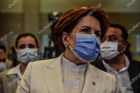 Meral Aksener, the leader of the opposition IYI (Good) Party, attends the presentation of Baskent Kart.