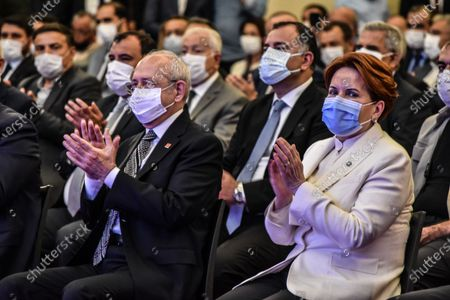 Stock Photo of Kemal Kilicdaroglu (L), the leader of the main opposition Republican People's Party (CHP), and Meral Aksener, the leader of the opposition IYI (Good) Party, attend the presentation of Baskent Kart.