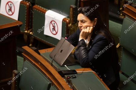 Stock Photo of MR's Marie-Christine Marghem pictured during a plenary session of the chamber at the federal parliament in Brussels, Wednesday 23 June 2021.