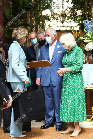 Lady Madeleine Lloyd Webber, Prince Charles and Camilla Duchess of Cornwall during a visit to Theatre Royal on June 23, 2021 in London, England. Theatre Royal Drury is the oldest theatre site in continuous use in the world, since 1812, every reigning British monarch has attended performances in the current theatre.