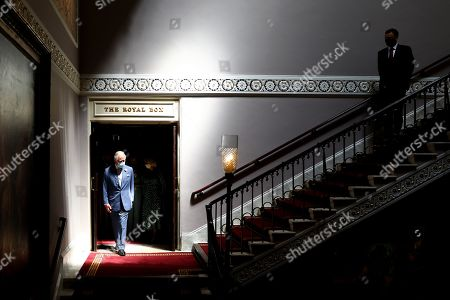 Prince Charles during a visit to Theatre Royal on June 23, 2021 in London, England. Theatre Royal Drury is the oldest theatre site in continuous use in the world, since 1812, every reigning British monarch has attended performances in the current theatre. In 2000 Andrew Lloyd Webber bought the theatre and in 2019 along with his wife Madeleine embarked on a 2 year project to completely restore Theatre Royal. They were keen to create a space that will see the building alive throughout the day for everyone, whether or not they are coming to see a show