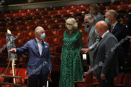 Prince Charles, Camilla Duchess of Cornwall, Lady Madeleine Lloyd Webber and Lord Sir Andrew Lloyd Webber during a visit to Theatre Royal on June 23, 2021 in London, England. Theatre Royal Drury is the oldest theatre site in continuous use in the world, since 1812, every reigning British monarch has attended performances in the current theatre.
