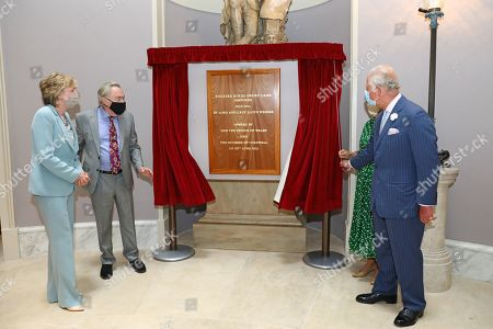 While Lady Madeleine Lloyd Webber and Lord Sir Andrew Lloyd Webber look on, Prince Charles next to Camilla Duchess of Cornwall unveils a plaque to commemorate the visit to Theatre Royal on June 23, 2021 in London, England. Theatre Royal Drury is the oldest theatre site in continuous use in the world, since 1812, every reigning British monarch has attended performances in the current theatre.