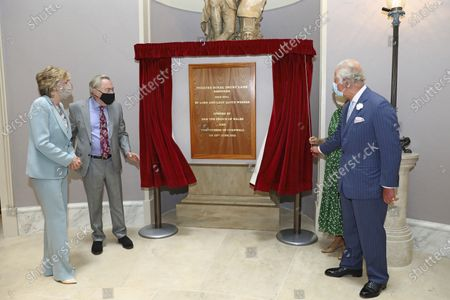 Stock Photo of Britain's Prince Charles and Camilla, Duchess of Cornwall, alongside Lord Andrew Lloyd Webber and Lady Madeleine Lloyd Webber, left, unveil a plaque during a visit to the Theatre Royal Drury Lane, central London