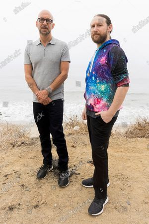 """Author Neil Strauss, left, and Incubus guitarist Mike Einziger, of the podcast """"To Live and Die in LA,"""" pose for a portrait, in Malibu, Calif. Strauss is back with a second season of his podcast, focusing on the 2017 disappearance of Elaine Park, a 20-year-old woman last seen in Calabasas, California"""
