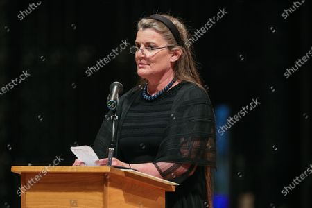 """Virginia Warner reads from """"O Ship of State"""" by Henry Wadsworth Longfellow during the funeral ceremony for former US Senator John Warner (Republican of Virginia) at Washington National Cathedral in Washington, DC."""