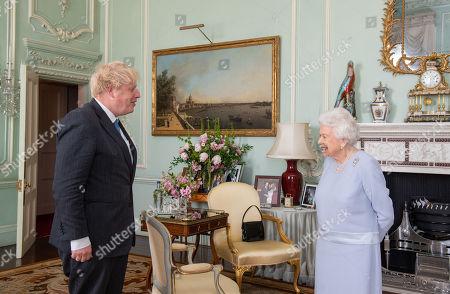 Queen Elizabeth II meets with Boris Johnson at Buckingham Palace, London