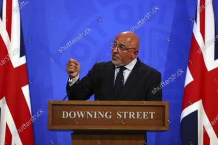 Vaccines minister Nadhim Zahawi speaks during a media briefing on coronavirus COVID-19, in Downing Street, London
