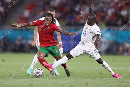 N'Golo Kante (R) of France in action against Renato Sanches of Portugal during the UEFA EURO 2020 group F preliminary round soccer match between Portugal and France in Budapest, Hungary, 23 June 2021.