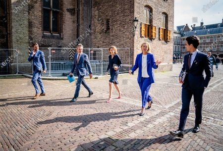 Stock Picture of (L-R) Steven van Weyenberg (D66), Mark Harbers (VVD), Sophie Hermans (VVD), Sigrid Kaag (D66) and Rob Jetten (D66) after their conversation with informateur Mariette Hamer in The Hague, The Netherlands, 23 June 2021. VVD and D66 are going to write the pilot coalition agreement to which parties must join.