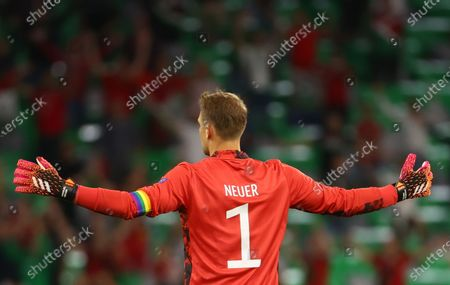 Goalkeeper Manuel Neuer of Germany reacts during the UEFA EURO 2020 group F preliminary round soccer match between Germany and Hungary in Munich, Germany, 23 June 2021.
