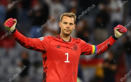Goalkeeper Manuel Neuer of Germany reacts after the UEFA EURO 2020 group F preliminary round soccer match between Germany and Hungary in Munich, Germany, 23 June 2021.