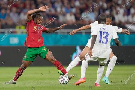 Renato Sanches (L) of Portugal in action against N'Golo Kante of France during the UEFA EURO 2020 group F UEFA EURO 2020 group F preliminary round soccer match between Portugal and France in Budapest, Hungary, 24 June 2021.