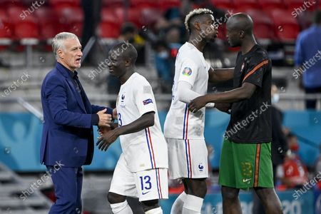 Head coach Didier Deschamps, N'Golo Kante, Paul Pogba of France and Danilo of Portugal (L-R) react at the end of the Portugal vs. France match in the third round of Group F of the Euro 2020 soccer tournament in Puskas Ferenc Arena in Budapest, Hungary, 23 June 2021.