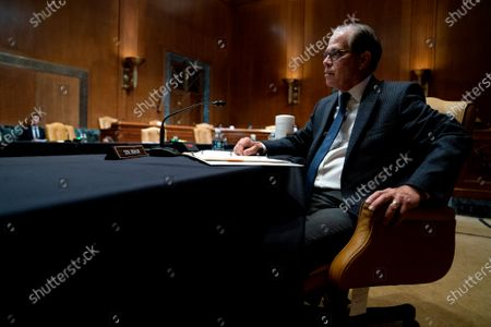Senator Mike Braun, a Republican from Indiana, speaks during a Senate Appropriations Committee hearing in Washington, DC, USA, on 23 June 2021. FBI Director Wray will answer questions about the FY2021 budget for the Federal Bureau of Investigation.
