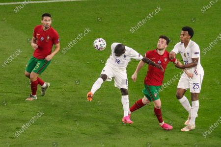 Header from N'Golo Kante (13 France) during the EURO 2020 European Championship football match between Portugal and France at Puskas Arena in Budagpest, Hungary.