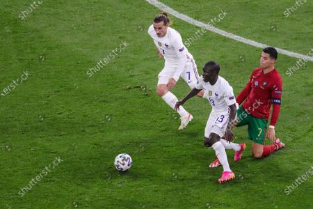N'Golo Kante (13 France) battle for the ball against Cristiano Ronaldo (7 Potugal) during the EURO 2020 European Championship football match between Portugal and France at Puskas Arena in Budagpest, Hungary.