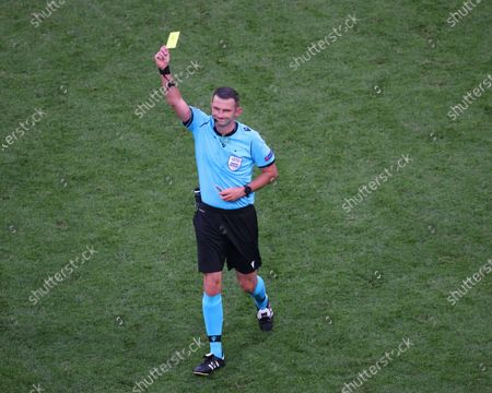 Stock Photo of Referee Michael Oliver seen in action during the European championship EURO 2020 between Poland and Sweden at Gazprom Arena.(Final Score; Poland 2:3 Sweden).