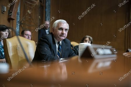 United States Senator Jack Reed (Democrat of Rhode Island), questions FBI Director Christopher Wray during a Senate Appropriations Subcommittee on Commerce, Justice, Science, and Related Agencies hearing on Capitol Hill in Washington, DC,. Director Wray answered questions about the FY2021 budget for the Federal Bureau of Investigation.