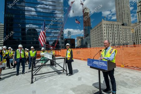 Michael R. Bloomberg, Chair of the Board, Ronald O. Perelman Performing Arts Center (PAC) and 108th mayor of New York City, speaks at the PAC topping off ceremony, in New York