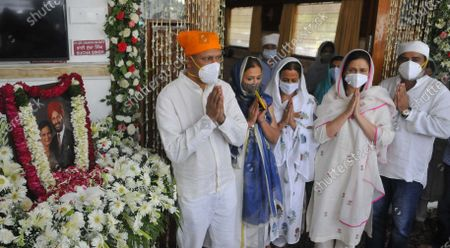 Stock Photo of Antim Ardas of legendary sportsperson Milkha Singh and his wife Nirmal Kaur, at Sector 8 Gurdwara,  on June 23, 2021 in Chandigarh, India. Legendary Indian athlete Milkha Singh died on 18 June, 2021 of Covid-19 related complications, five days after wife Nirmal Kaur's death.